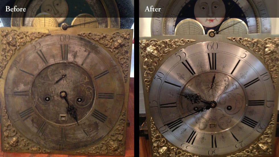 Before and after photos of clock dial restoration
